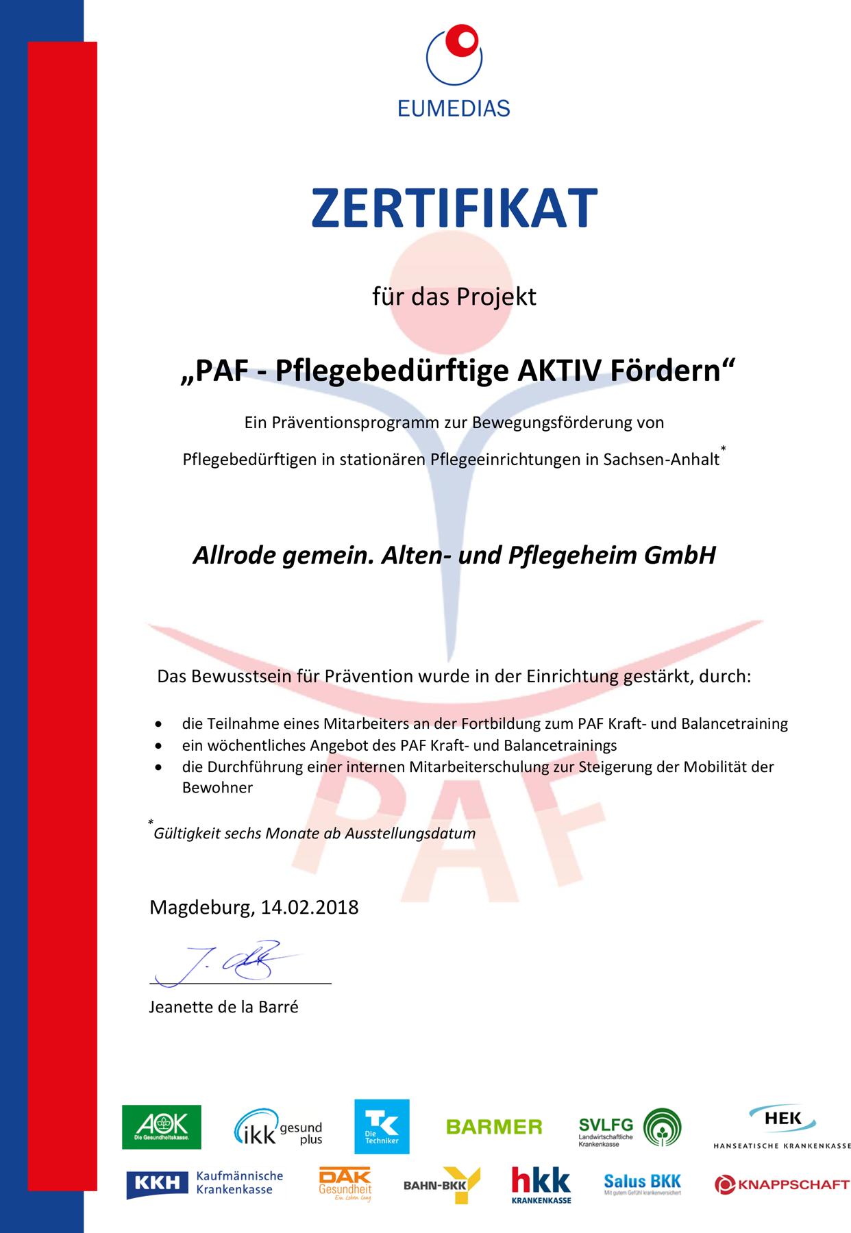Zetifikat PAF - Pflegebedürftige AKTIV Fördern